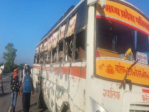 A visual from the site of the accident in Bhind on Friday. [Photo/ANI]