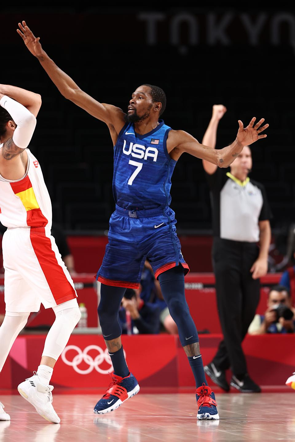 <p>TOKYO, JAPAN - AUGUST 3: Kevin Durant #7 of the USA Men's National Team plays defense during the game against the Spain Men's National Team during the 2020 Tokyo Olympics on August 3, 2021 at the Super Saitama Arena in Tokyo, Japan. NOTE TO USER: User expressly acknowledges and agrees that, by downloading and or using this photograph, user is consenting to the terms and conditions of the Getty Images License Agreement. Mandatory Copyright Notice: Copyright 2021 NBAE (Photo by Stephen Gosling/NBAE via Getty Images)</p>