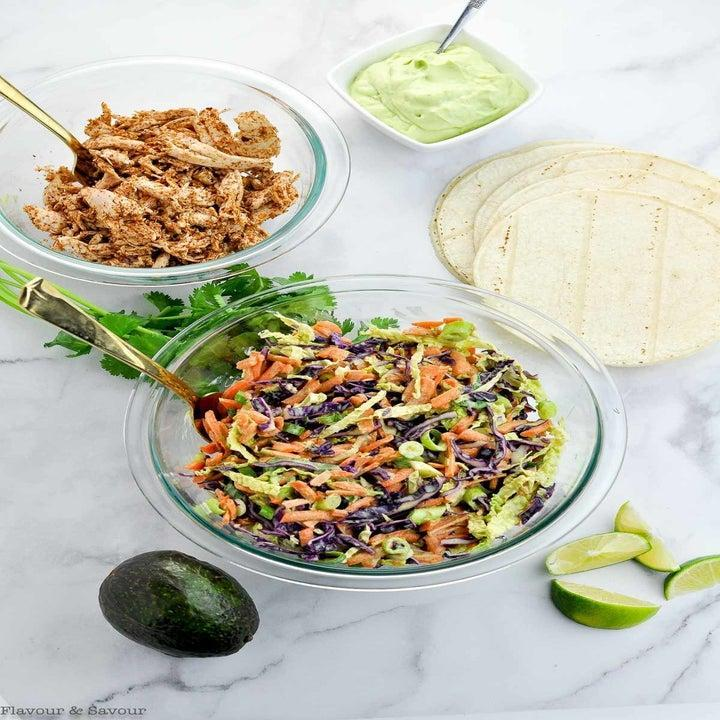 Ingredients for chicken and slaw tacos.