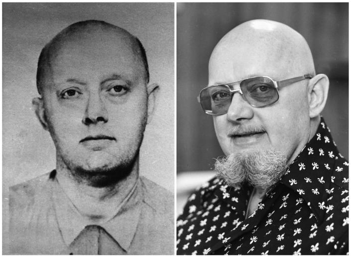 Left, an FBI Ten Most Wanted poster of Benjamin Hoskins Paddock, left, and a 1977 file photo of Paddock, who went by the name Bruce Ericksen when he was on the lam in Lane County, Ore., following his escape from a federal prison in Texas where he had been sentenced for bank robberies. Paddock's son, Stephen Paddock, was the gunman who opened fire on a country music festival in Las Vegas on Sunday. (Photos: FBI and Wayne Eastburn/Register-Guard via AP)