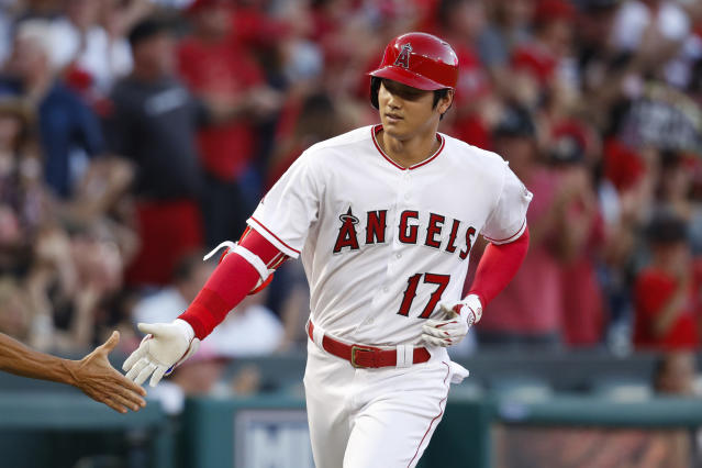 Shohei Ohtani rounds third base after hitting a home run during the first inning of a game against the Seattle Mariners on Sept. 15, 2018. (AP)