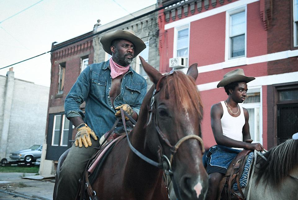Idris Elba and Caleb McLaughlin in Concrete Cowboy (Netflix)