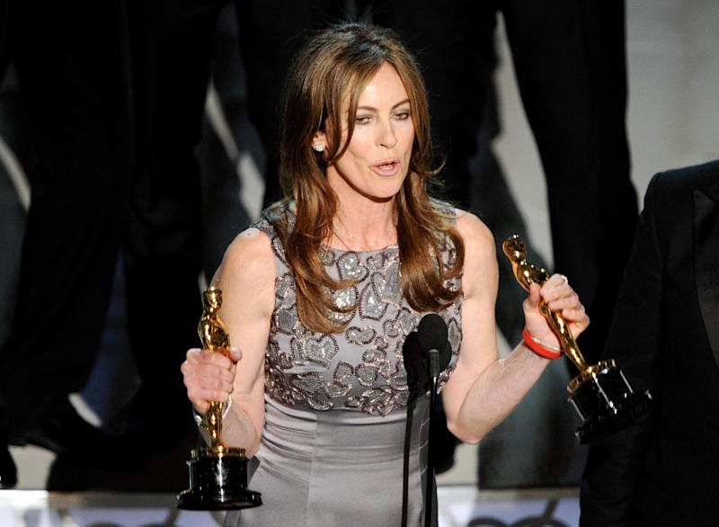 Milestone: Bigelow with two of her Oscar statuettes (AFP/Getty Images)
