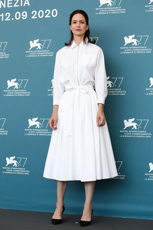 <p>Waterson wears Prada for the photocall. </p>