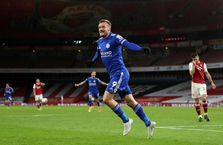 Leicester striker Jamie Vardy celebrates his goal at Arsenal