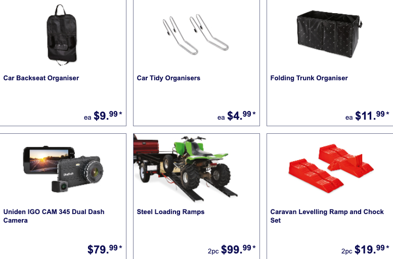 Car accessories on sale as Special Buys at Aldi.