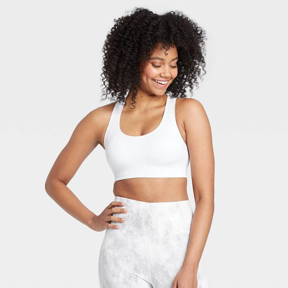 <p>This <span>All in Motion Medium Support Seamless Racerback Bra</span> ($16) is a great pick for so many different workouts.</p>
