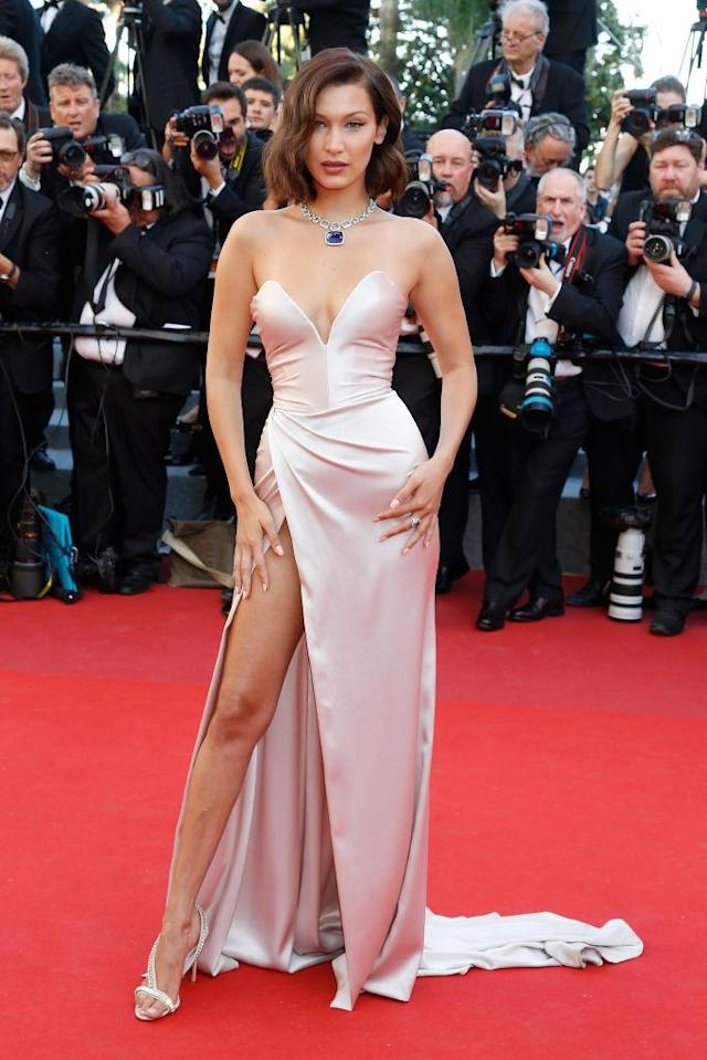 <p>The 20-year-old wore a silk Alexandre Vauthier gown on the opening night of the film festival. (Photo: Getty Images) </p>
