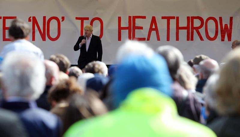 Boris Johnson at a rally against the expansion of Heathrow in 2013 while he was mayor of London (Picture: PA)