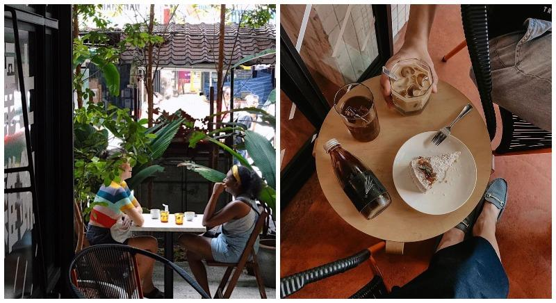 People sitting outside Stellar (left) and coffee, cake served by the cafe (right). Photos: Stellar/Instagram