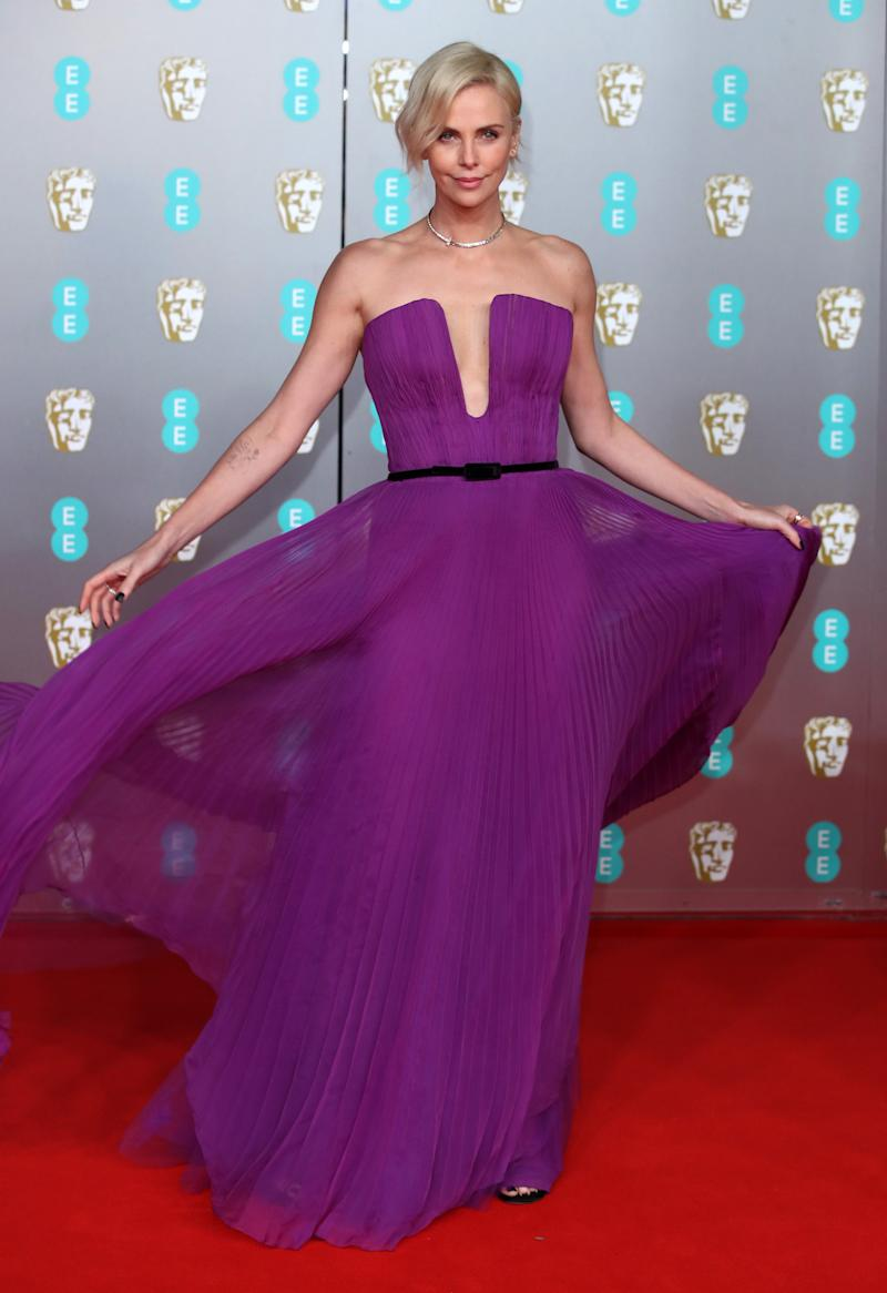 LONDON, ENGLAND - FEBRUARY 02: Charlize Theron attends the EE British Academy Film Awards 2020 at Royal Albert Hall on February 02, 2020 in London, England. (Photo by Mike Marsland/WireImage )