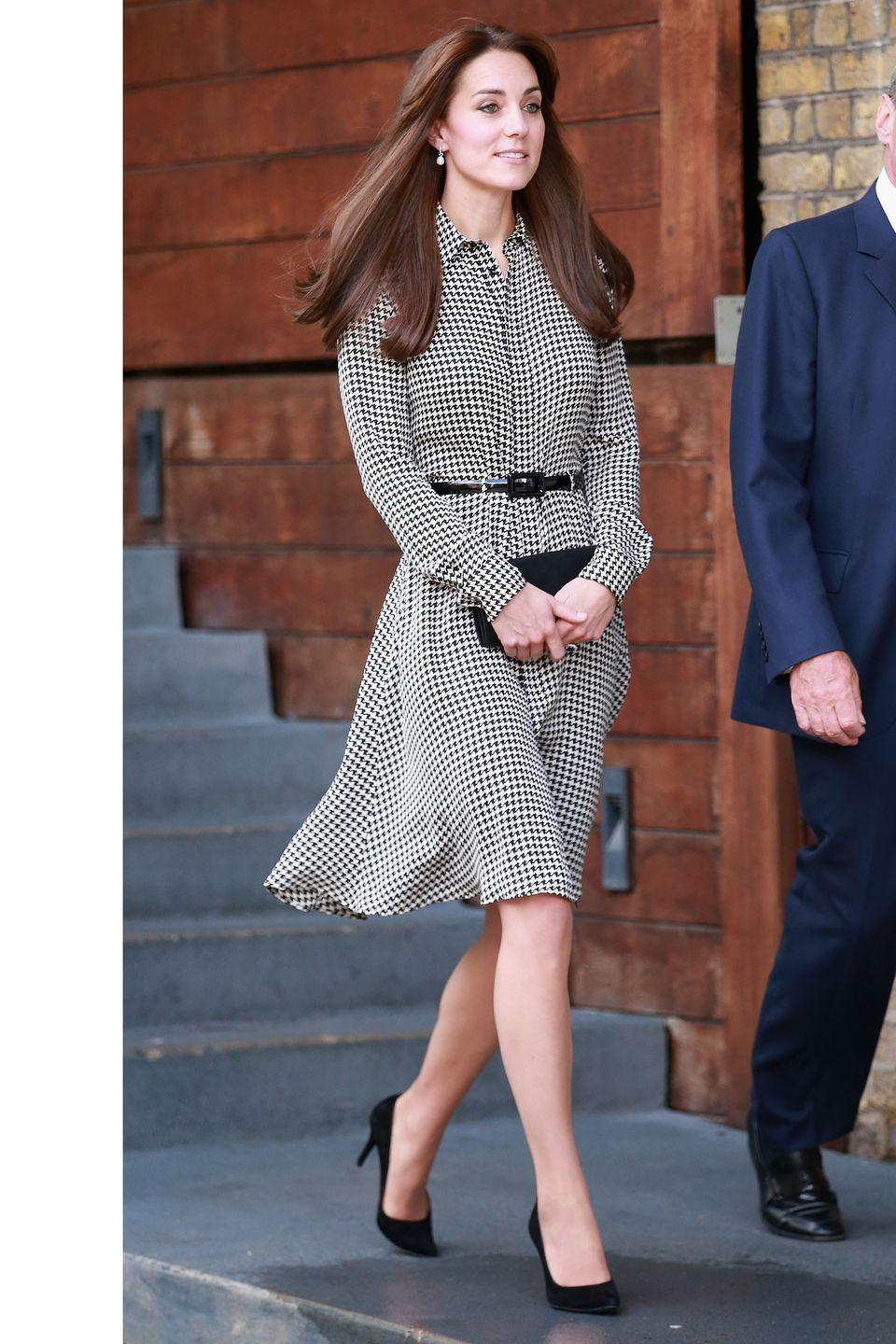 <p>In one of her first post-maternity leave appearances, The Duchess of Cambridge sports a Ralph Lauren dress at the Anna Freud Centre in London.</p>