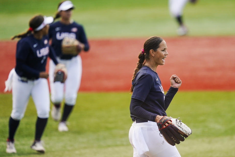 United States' Cat Osterman reacts after the sixth inning of a softball game against Mexico at the 2020 Summer Olympics, Saturday, July 24, 2021, in Yokohama, Japan. (AP Photo/Matt Slocum)