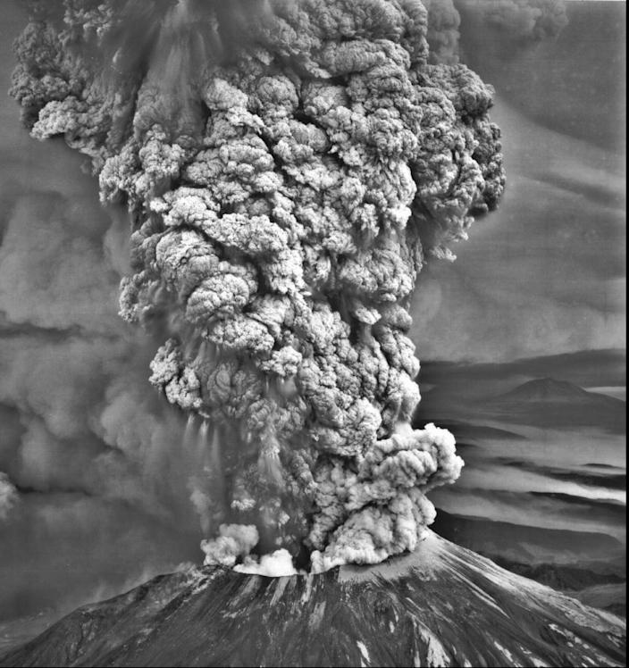 Mt. St. Helens erupted on May 18, 1980, sending a column of ash 15 miles high in less than 15 minutes, which caused complete darkness in Spokane, 250 miles east.