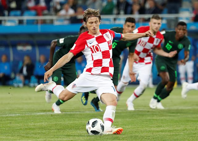 Soccer Football - World Cup - Group D - Croatia vs Nigeria - Kaliningrad Stadium, Kaliningrad, Russia - June 16, 2018 Croatia's Luka Modric scores their second goal from a penalty REUTERS/Murad Sezer TPX IMAGES OF THE DAY