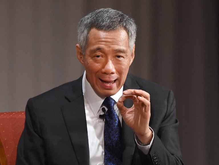 Singapore Prime Minister Lee Hsien Loong answers questions during the 20th International Conference on the Future of Asia in Tokyo on May 22, 2014