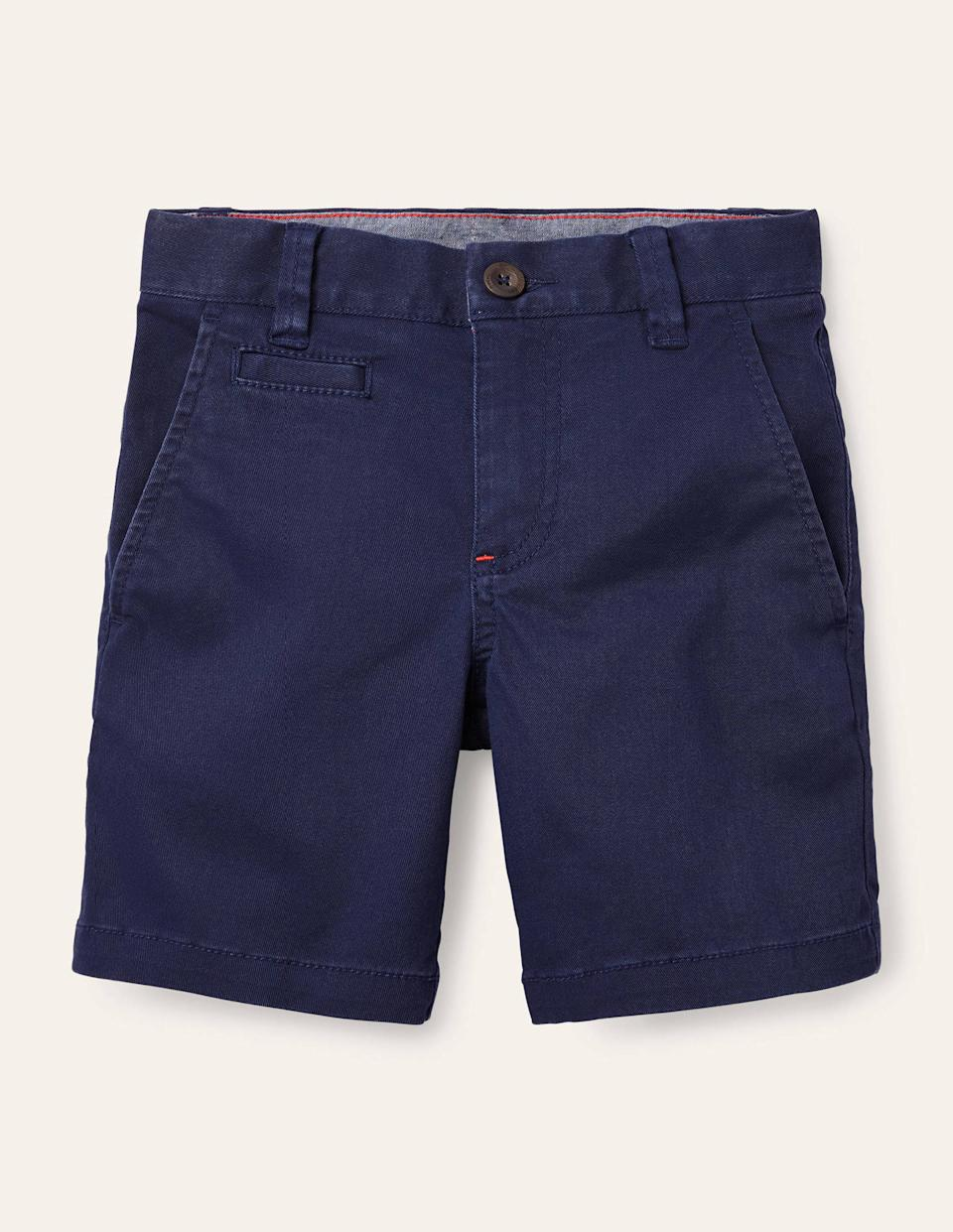 Navy chino shorts from Boden.