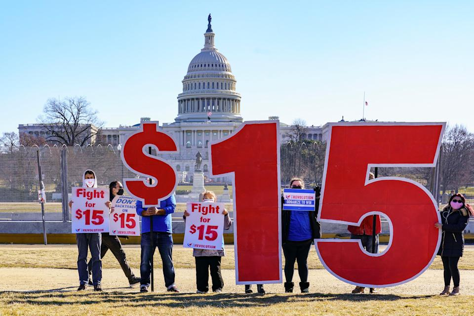 <p>Republicans and some Democrats voted down Sen. Bernie Sanders' call for a $15 minimum wage</p> (AP)