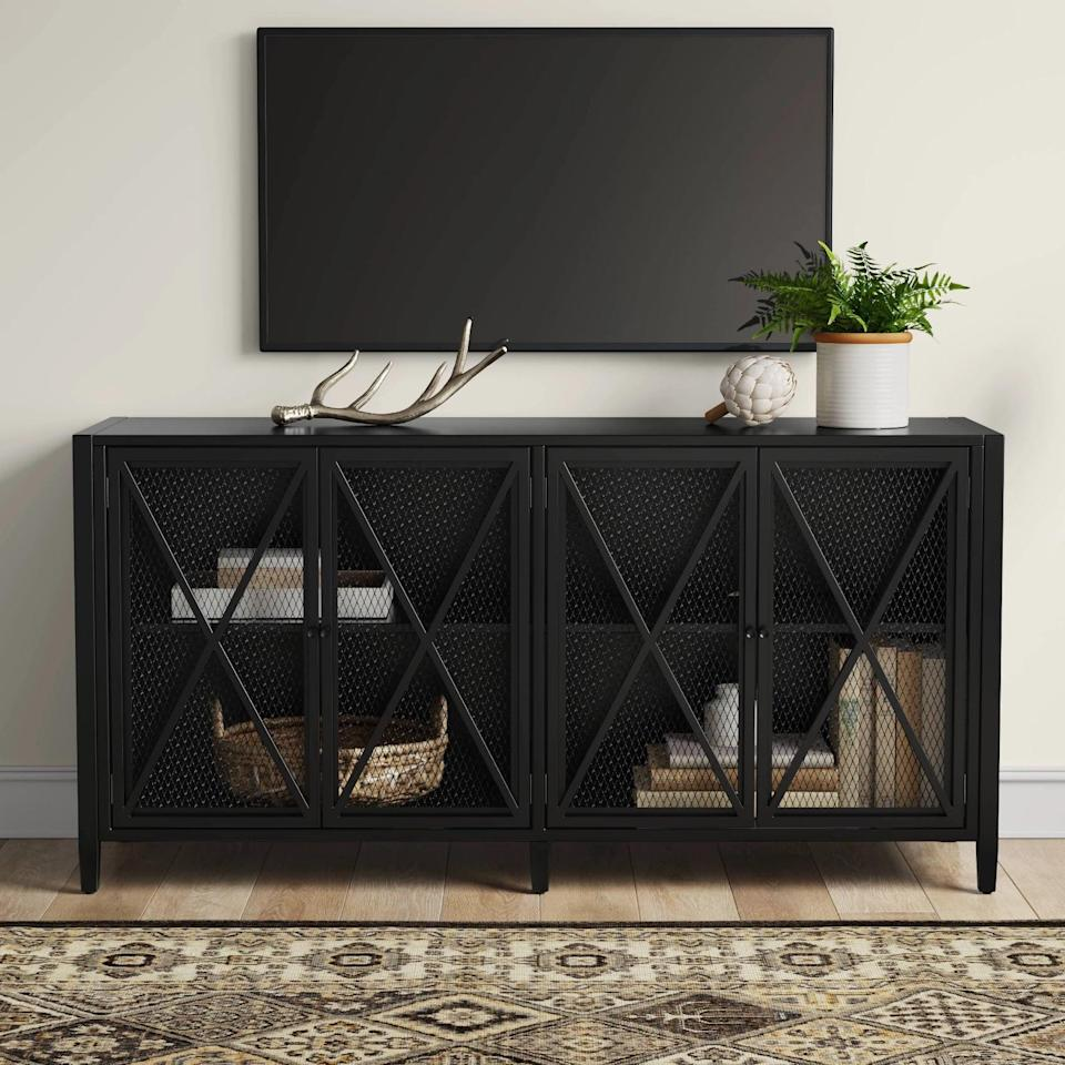 <p>The design of this <span>Threshold Fairmont Metal TV Stand With Storage</span> ($250) is so chic.</p>