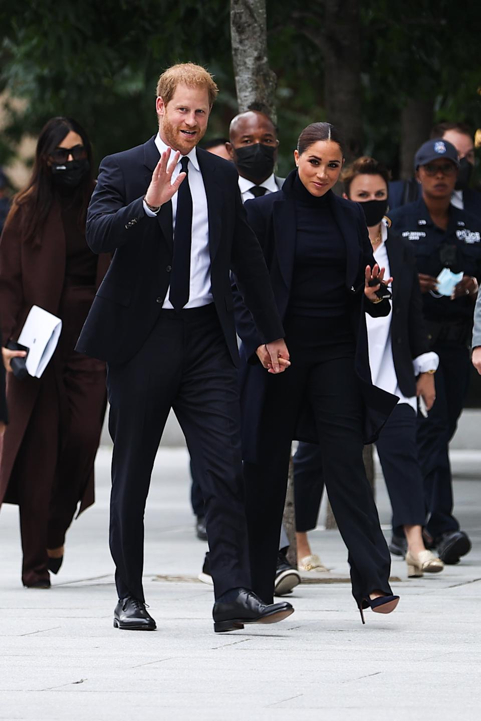 NEW YORK, NY - SEPTEMBER 23: Prince Harry and Meghan Markle visit the One World Observatory as NY Governor Hochul and NYC Mayor Blasio walk along with them in New York City, United States on September 23, 2021. (Photo by Tayfun Coskun/Anadolu Agency via Getty Images)