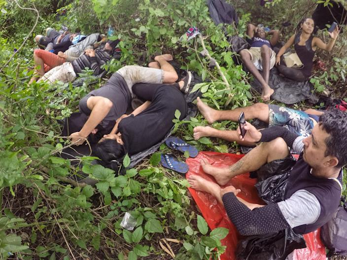 June 24, 2016 - Migrants from Cuba and Nepal, camped out in Nicaragua waiting for coyotes to move them to a safe location. (Photo: Lisette Poole)