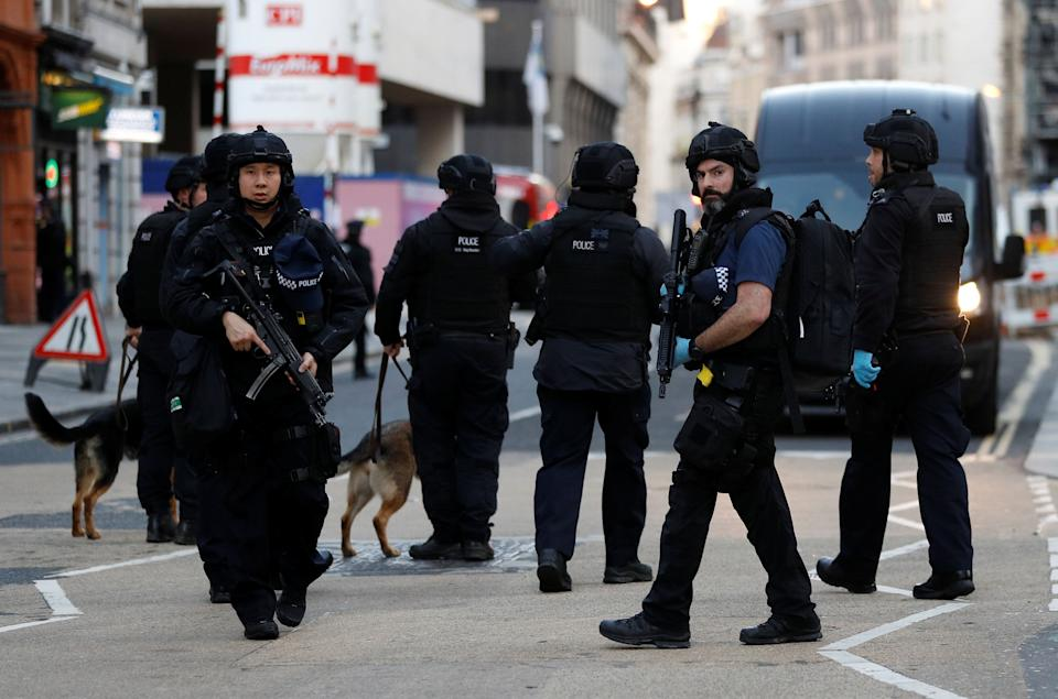 Armed police on the scene of the London Bridge attack on Friday. (Photo: Peter Nicholls / Reuters)