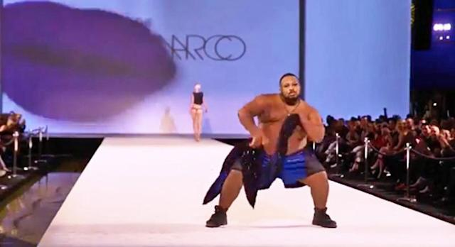 Dexter Mayfield slays on the runway at Marco Marco fashion show. (Photo: Instagram/Dexter Mayfield)