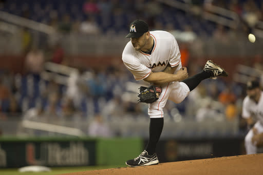 Miami Marlins starting pitcher Brad Penny throws to the Arizona Diamondbacks during the first inning of a baseball game in Miami, Thursday, Aug. 14, 2014. (AP Photo/J Pat Carter)