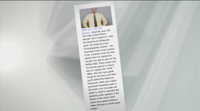 Jeff Acor, a history teacher at Whitesville Central School, is quoted as praising Adolf Hitler in the school yearbook. (Screenshot: WIVB)