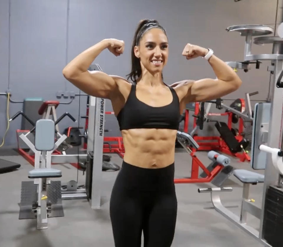 She now weighs under 63kg and competes in fitness competitions. Photo: Caters News