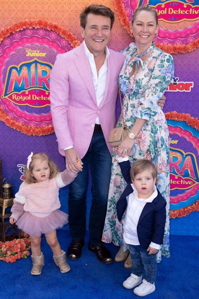 <p>Robert and Kym Herjavec accompany their twins Haven and Hudson to the world premiere of upcoming Disney Junior animated series <em>Mira, Royal Detective</em> at The Walt Disney Studios in Burbank, California, on Saturday.</p>