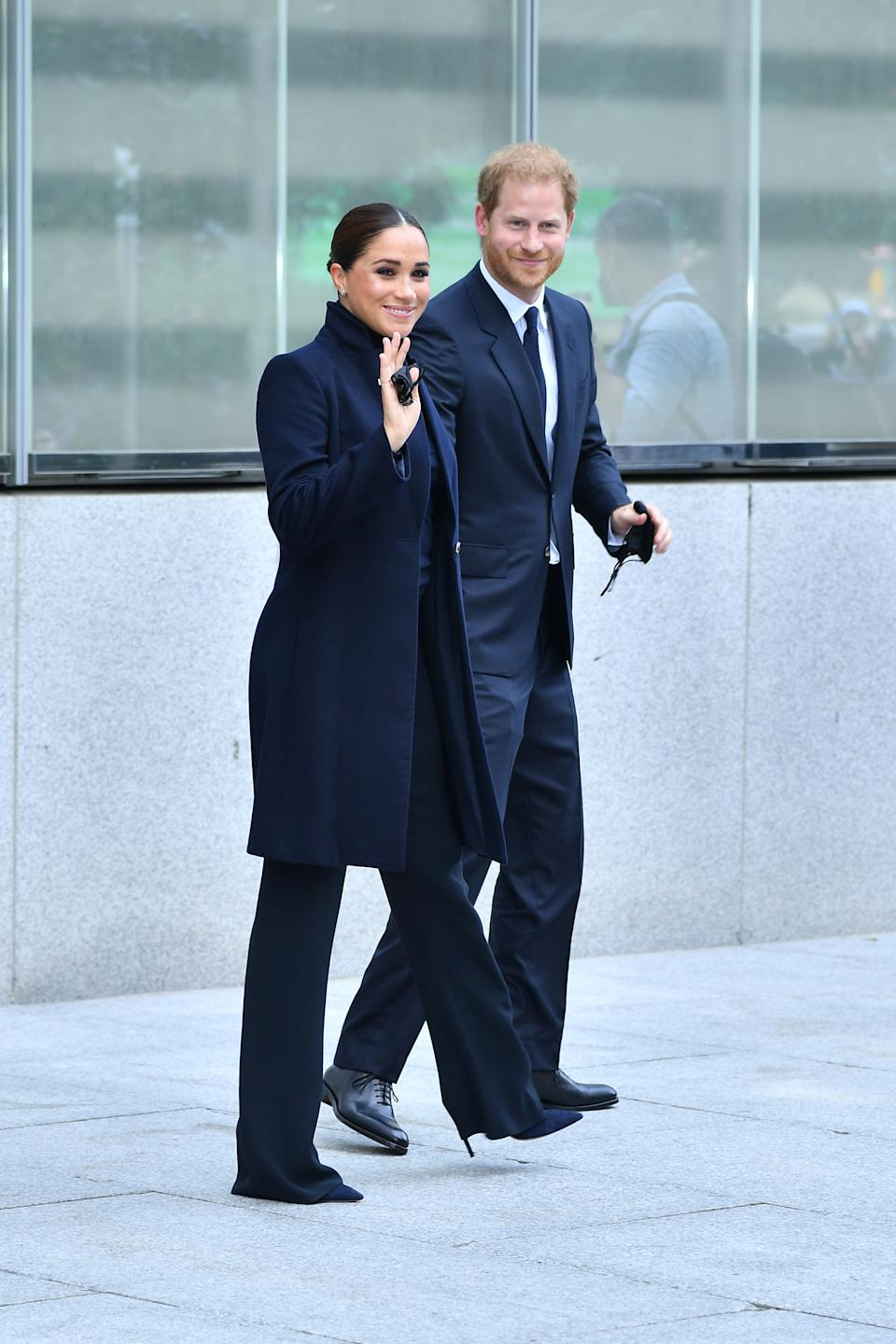 Meghan Markle and Prince Harry, pictured arriving at Visit One World Observatory in NYC on September 23, 2021, have said they'll have no more than two children. (Getty Images)