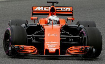 FILE PHOTO: Formula One - F1 - Test session - Barcelona-Catalunya racetrack in Montmelo, Spain - 8/3/17. McLaren's Fernando Alonso in action. REUTERS/Albert Gea/File Photo