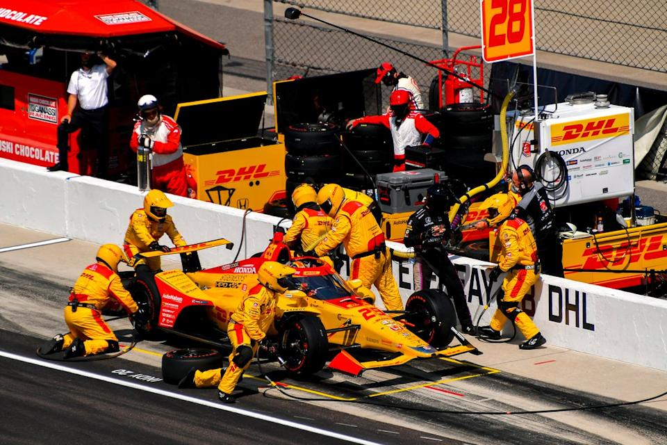"Hunter-Reay's pitstops at Indy were not swift enough to keep him in the lead battle. <span class=""copyright"">Gavin Baker / Motorsport Images</span>"