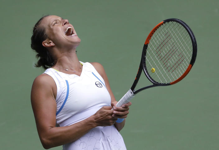 Barbora Strycova, of the Czech Republic, reacts against Elise Mertens, of Belgium, during the third round of the U.S. Open tennis tournament, Friday, Aug. 31, 2018, in New York. (AP Photo/Seth Wenig)