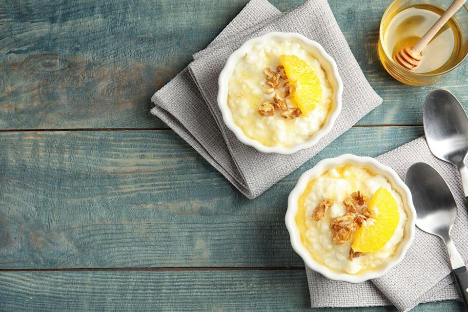 """<p>If you're looking for a quick 10-minute dessert, grab bananas and some yogurt for the base of this pudding. You can add fresh or canned peaches in the mix for another layer of flavor, and top as you wish!</p><p><a href=""""https://www.goodhousekeeping.com/food-recipes/a3577/banana-peach-rice-pudding-2377/"""" rel=""""nofollow noopener"""" target=""""_blank"""" data-ylk=""""slk:Get the Banana-Peach Rice Pudding recipe »"""" class=""""link rapid-noclick-resp""""><em>Get the Banana-Peach Rice Pudding recipe »</em></a></p>"""