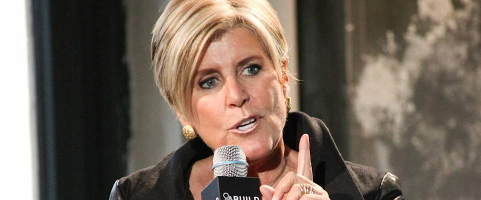 Suze Orman speaks at a Q&A in New York, pointing her finger