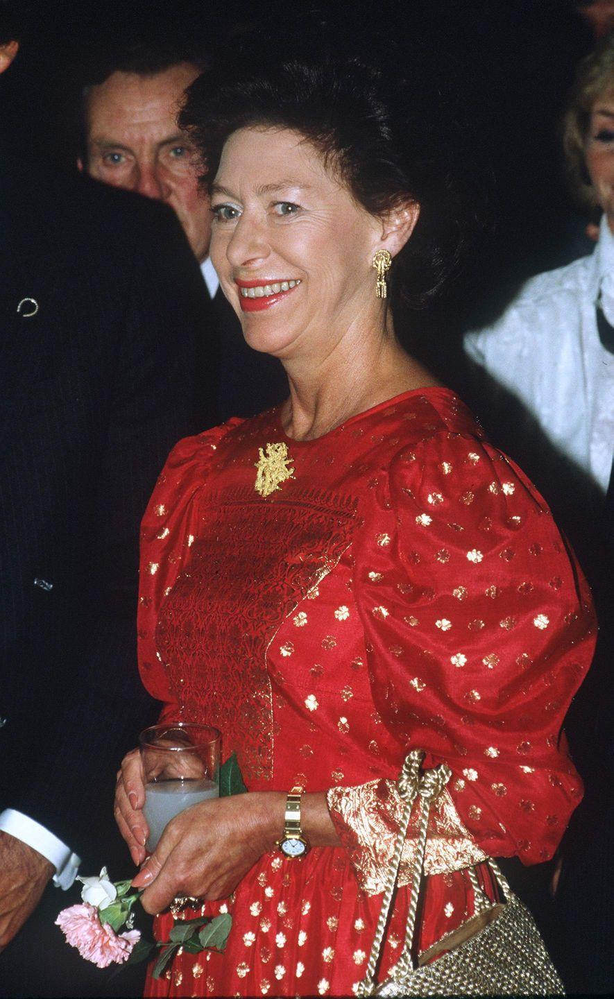 <p>Princess Margaret brought out her best holiday dress to visit the Royal Festival Hall.</p>