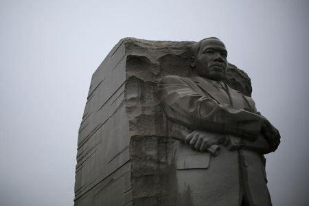The Martin Luther King Jr. Memorial is pictured during a steady rain in Washington January 18, 2015.  REUTERS/Jonathan Ernst