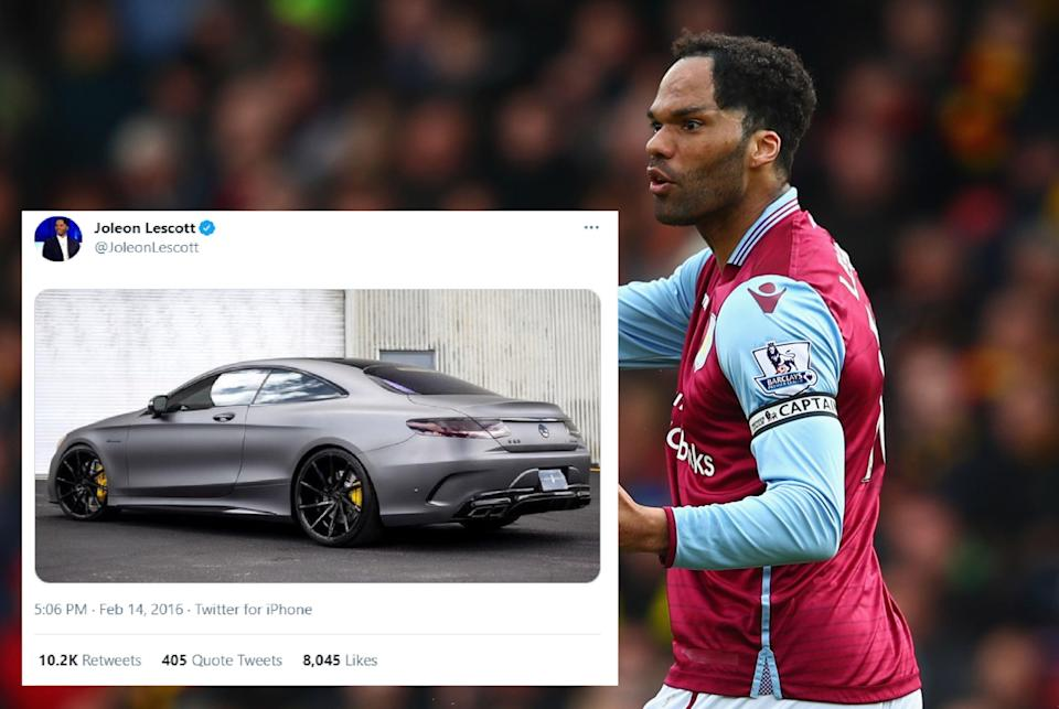 <p>Joleon Lescott tweeted a picture of a Mercedes after losing 6-0 but said it was an accident</p> (Getty)