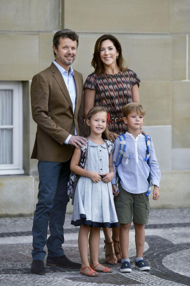 <p>August 2017: Mary and Frederik send their youngest kids, twins Prince Vincent and Princess Josephine off to school. Photo: Getty Images.</p>