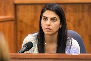 Babysitter Jennifer Fortier testifies during the murder trial of Aaron  Hernandez. (AP)
