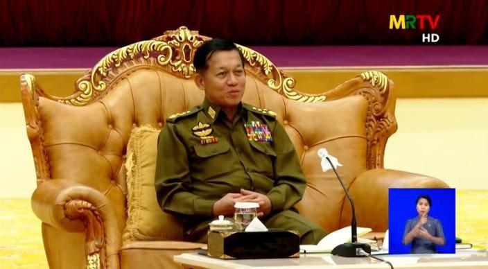 General Min Aung Hlaing speaks during a meeting