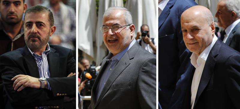 "This combination of three photo shows, from left, Wafiq Safa, a top Hezbollah security official, and Lebanon Parliament members Muhammad Hasan Ra'd and Amin Sherri in Beirut. The U.S. Treasury Department is imposing sanctions the three men, who are suspected of using their positions to further the aims of the Iran-backed military group and ""bolster Iran's malign activities."" (AP Photo/Hussein Malla)"