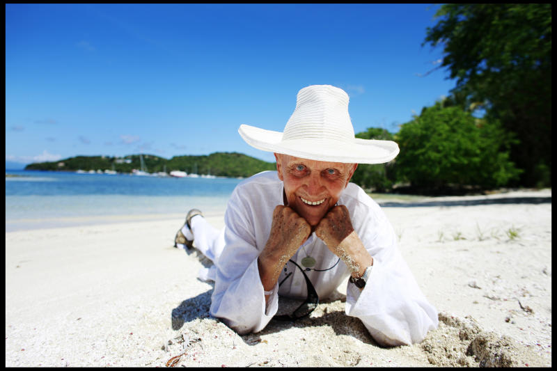 Lord Glenconner Colin Tennant, the founder of the island of Mustique, on a beach on the island. | Location: St.Lucia. (Photo by David Howells/Corbis via Getty Images)