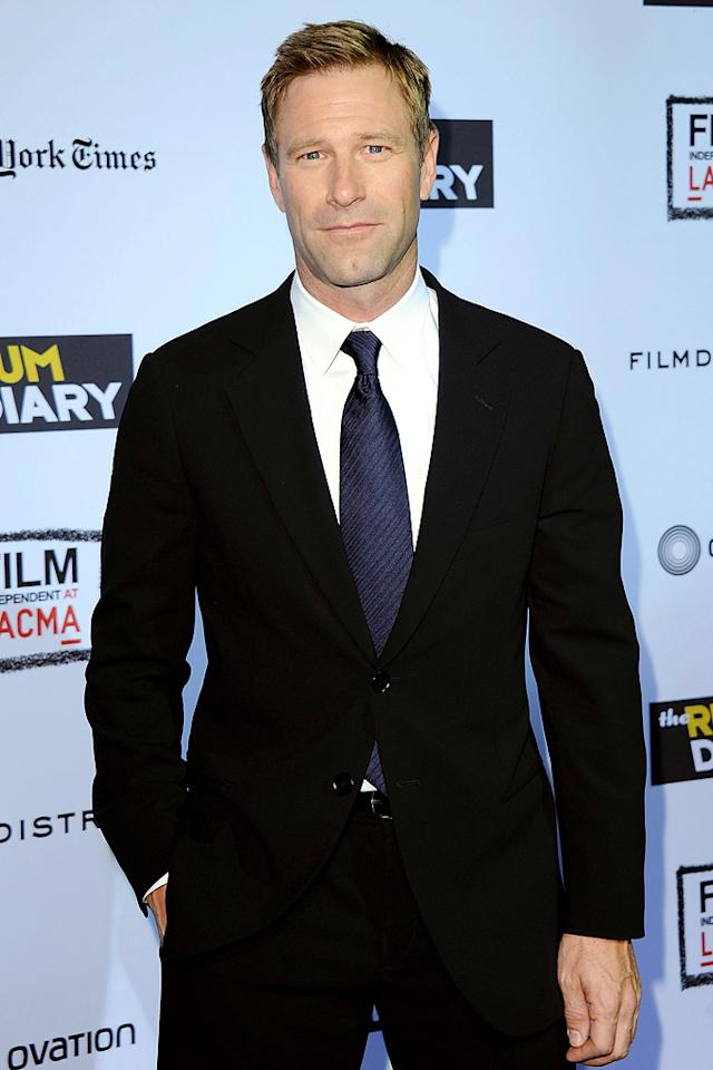 "<a href=""http://movies.yahoo.com/movie/contributor/1800022565"">Aaron Eckhart</a> at the Los Angeles premiere of <a href=""http://movies.yahoo.com/movie/1810077951/info"">The Rum Diary</a> on October 13, 2011."