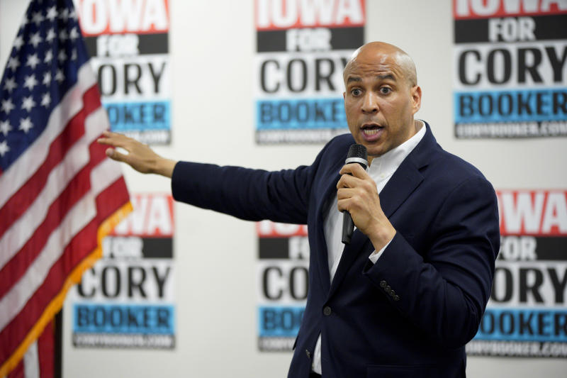 Democratic presidential candidate Sen. Cory Booker, D-N.J., speaks during an election stop at the Sioux City Public Museum in Sioux City, Iowa, Monday, April 15, 2019. (AP Photo/Nati Harnik)