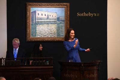 Sotheby's European Chairman and auctioneer, Helena Newman, hammers down Claude Monet's Venetian view for a record $36.2 million in London this week. The bi-annual series of Impressionist, Modern and Surrealist Art sales in London brought a total of $143.6 million.
