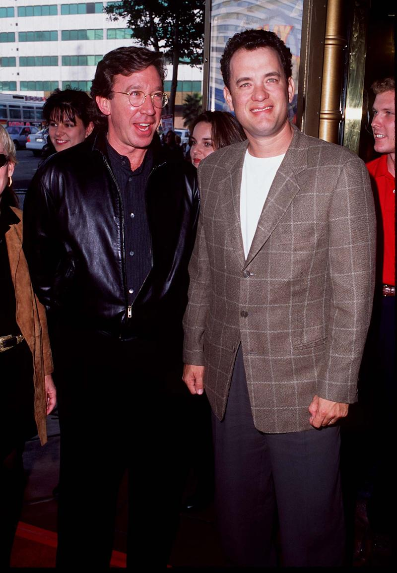 """Tim Allen & Tom Hanks during """"Toy Story"""" - Hollywood Premiere at El Captain Theatre in Hollywood, California, United States. (Photo by SGranitz/WireImage)"""