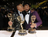 <p>Lena Waithe and Donald Glover at the Governors Ball. (Photo: Danny Moloshok/Invision for the Television Academy/AP Images) </p>